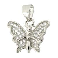 Rhodium Silver Cubic Zirconia Butterfly 17mm Charm
