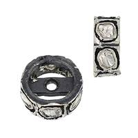 Rhodium Sterling Silver 24pts 8X2mm Diamond Roundel Bead