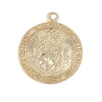 14KY Round ST Christopher Charm