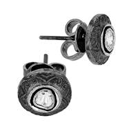 Rhodium Sterling Silver Diamond 11mm Earring