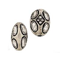 Rhodium Sterling Silver Diamond 11X8mm Bead