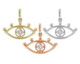 14K Diamond Eye Charm