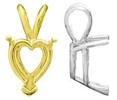 14K V-END 3 PRONG HEART PENDANT 5538-14K