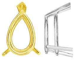 14K PEAR DOUBLE WIRE 3 PRONGS SETTING 6779-14K