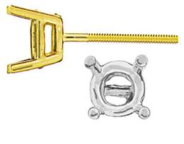 STANDARD 4 PRONG EARRING WITH SCREW POST