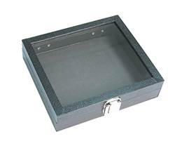 Glass Top 8 Inches Black Wood Tray Size E