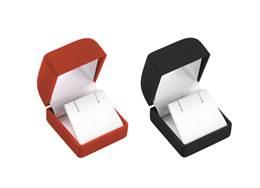 FLOCKED VELOUR EARRING SMALL SQUARE BOX 27039-BX