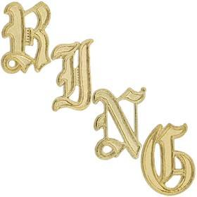 14KY Gold Initial Old English Font Height 9.76mm