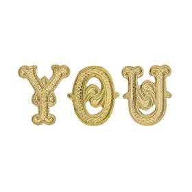 14KY Gold Initial Gothic Font Height 6.44mm