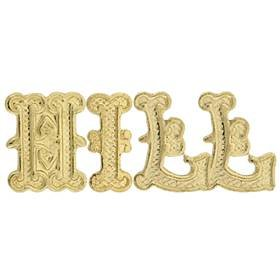 14KY Gold Initial Gothic Font Height 9.56mm