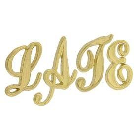 14K Gold Initial Script Font Height 6.25mm