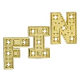 14K Gold Initial Block Font Setting Height 8.18mm