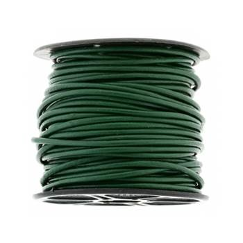 2mm by 25 yards dark green leather cords