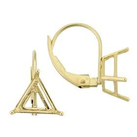 14K Earring 3 Prong Triangle Leverback