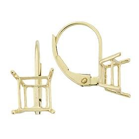 14K Earring 4 Prong Square Leverback