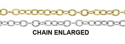 14K Gold Chain 1.40mm Width Flat Round Cable Chain