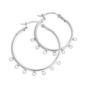 Sterling Silver 7 Rings Click Hoop Earring