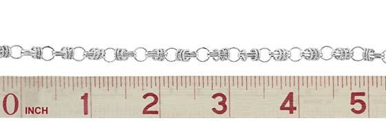 sterling silver knurl barrel and short cable chain
