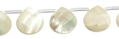10X10MM PEAR FACETED TOP DRILL WHITE MOTHER OF PEARL BEAD