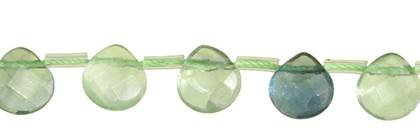 16X16MM PEAR FACETED TOP DRILL GREEN FLUORITE