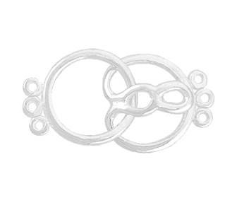sterling silver 13mm multi-strand round hook and eye clasp