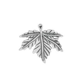 oxidized sterling silver 27mm maple leaf charm