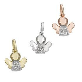 14K Diamond Angel Charms