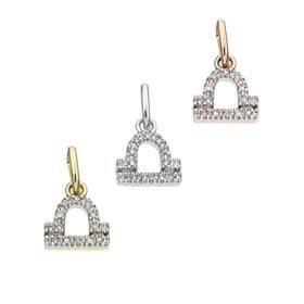 14K Diamond Libra Charms