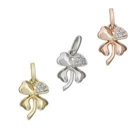 14K Diamond Lucky Four Leaves Clover Charms
