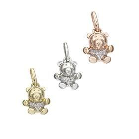 14K Diamond Bear Charms
