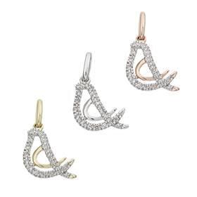 14K Diamond Bird Charms