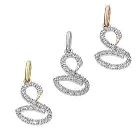 14K Diamond Swan Charms