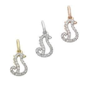 14K Diamond Seahorse Charms