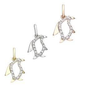 14K Diamond Penguin Charms