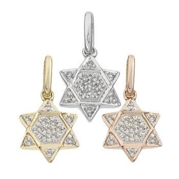 14K Diamond Jewish Star Charms