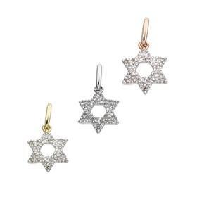 14K Diamond Jewish Star Charms (C)