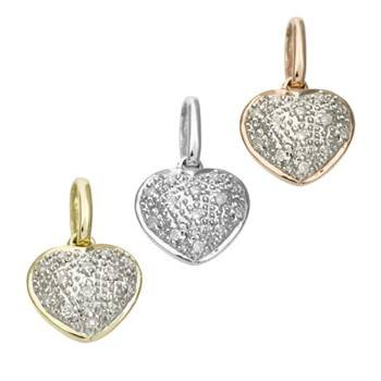 14K Diamond Heart Charms