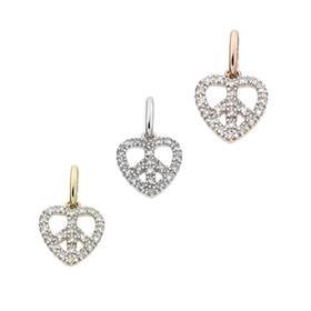 14K Diamond Heart Of Peace Charms