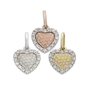 14K Diamond Heart Charms (A)