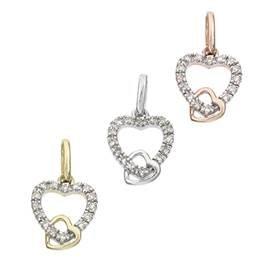 14K Diamond Heart Charms (B)