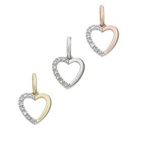 14K Diamond Heart Charms (C)