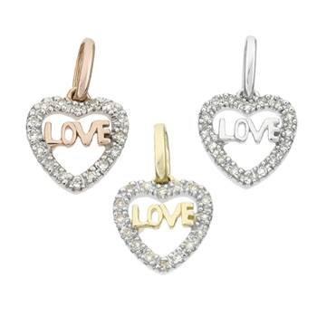 14K Diamond Heart Charms (D)