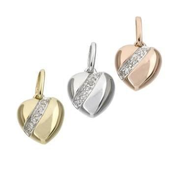 14K Diamond Heart Charms (E)
