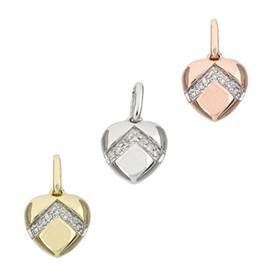 14K Diamond Heart Charms (F)