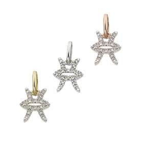 14K Diamond Pisces Charms