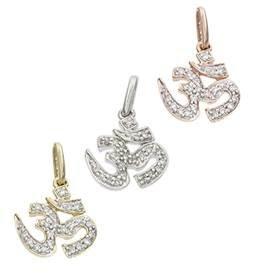 14K Diamond Ohm Charms