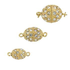 BASE METAL RHINESTONES OVAL CLASPS 28606-BM