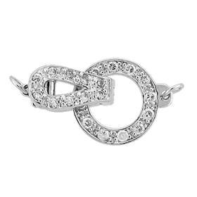 rhodium sterling silver 17x11mm cubic zirconia circle fold over clasp