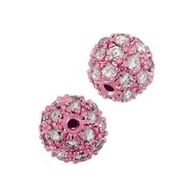 rose gold vermeil 7mm cubic zirconia round bead