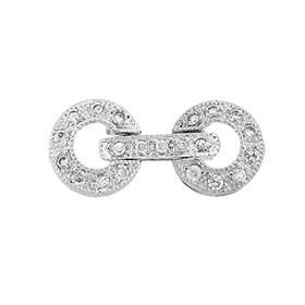 rhodium sterling silver 17x8mm cubic zirconia circle fold over clasp